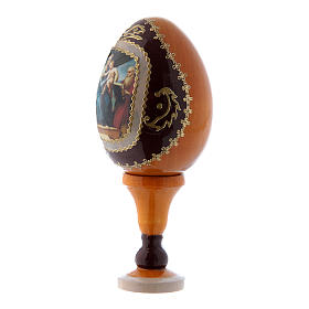 Russian Egg Madonna of the Fish, Fabergé style, yellow 13 cm