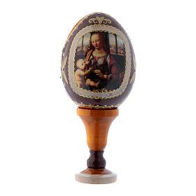 Uovo russo in legno giallo stile Fabergè La Madonna col Bambino h tot 13 cm s1