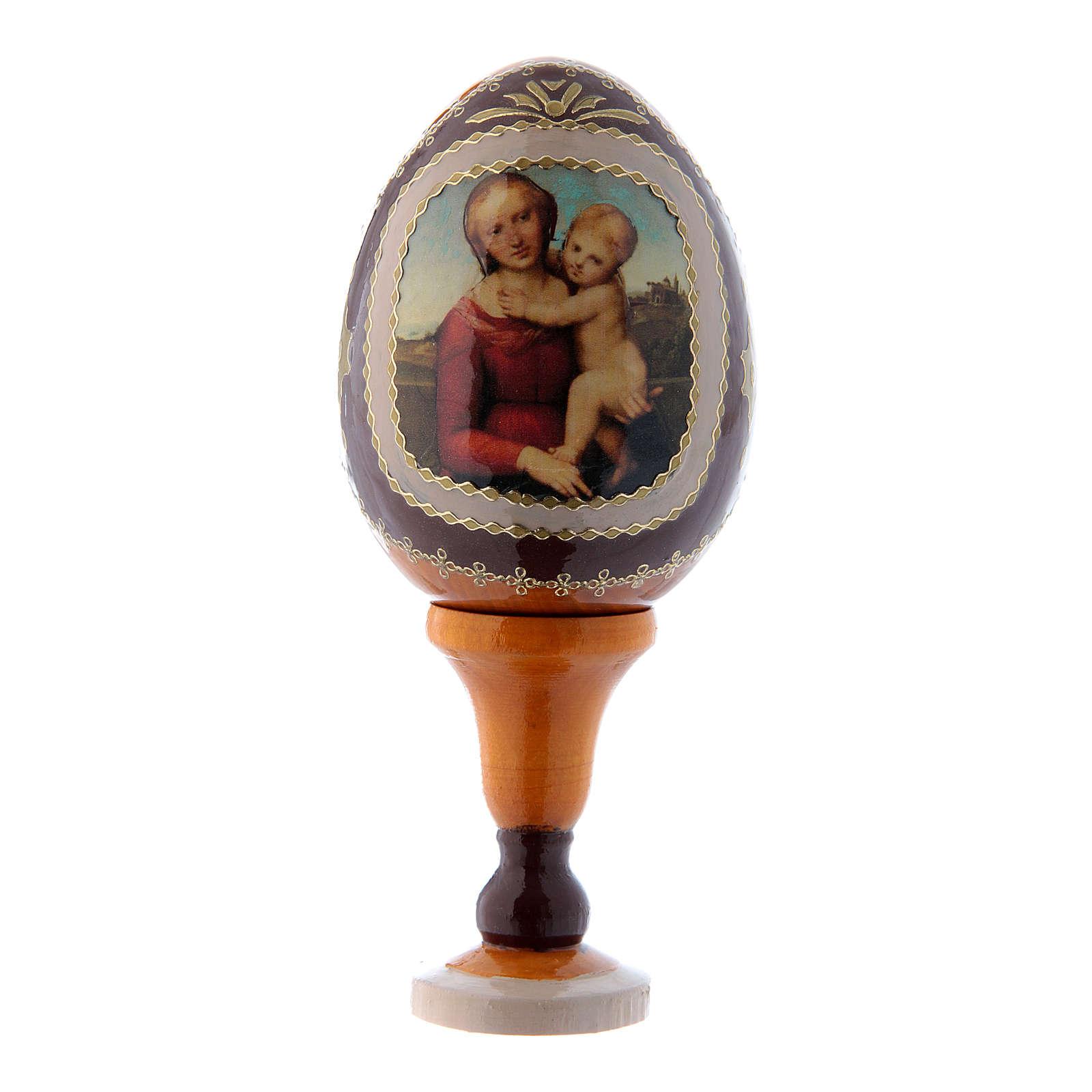 Uovo icona russa in legno giallo La Piccola Madonna Cowper h tot 13 cm 4