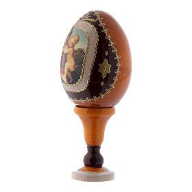 Uovo icona russa in legno giallo La Piccola Madonna Cowper h tot 13 cm s2