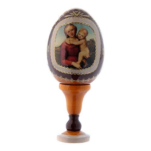 Uovo icona russa in legno giallo La Piccola Madonna Cowper h tot 13 cm 1