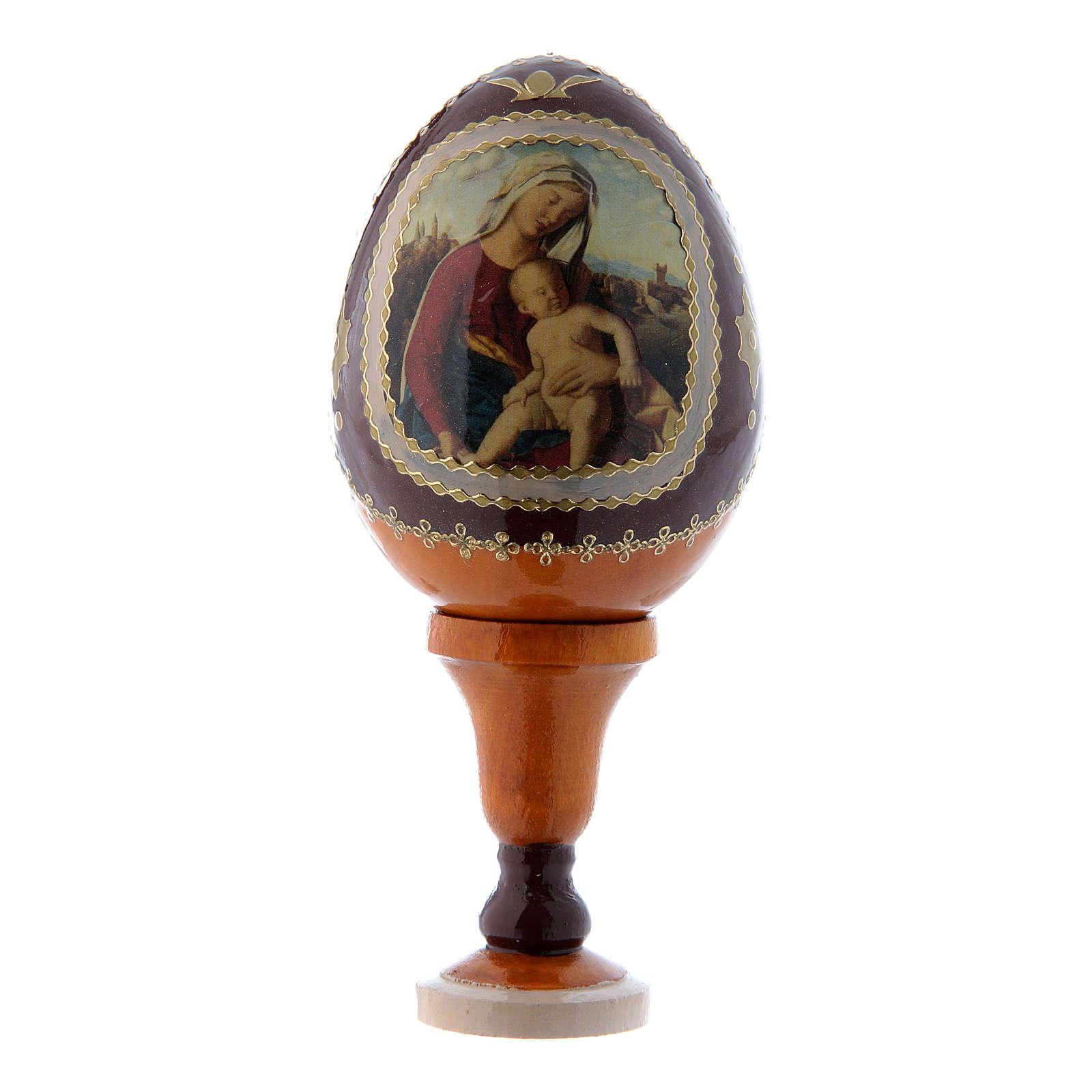 Oeuf jaune en bois découpage russe Vierge à l'Enfant h tot 13 cm 4