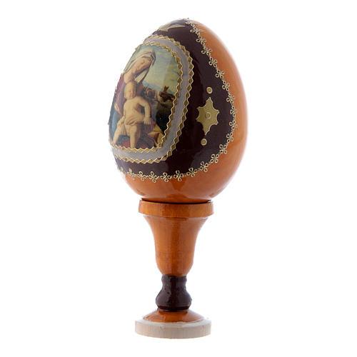 Uovo giallo in legno découpage russo Madonna con Bambino h tot 13 cm 2