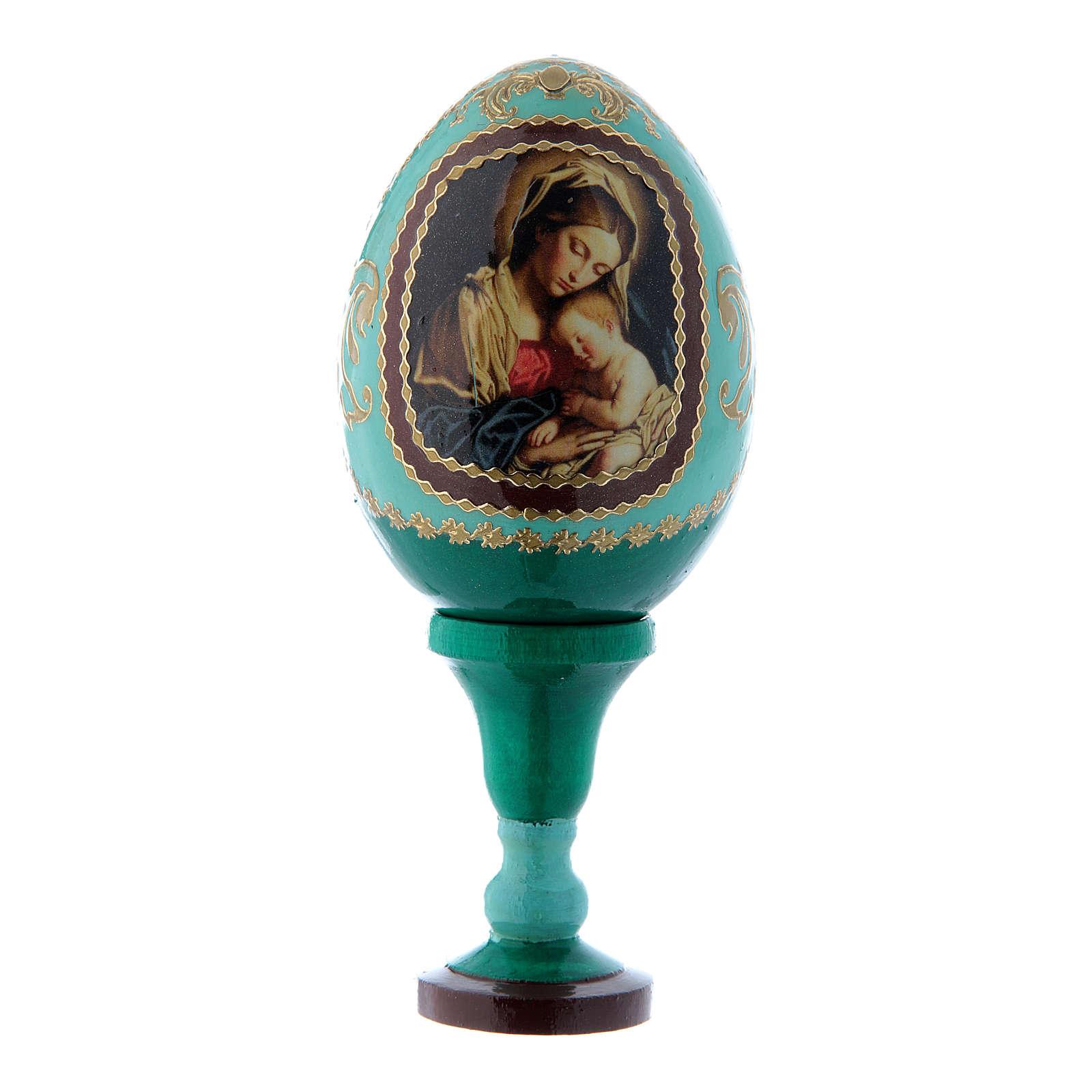 Huevo estilo Fabergé verde ruso Virgen con Niño h tot 13 cm 4