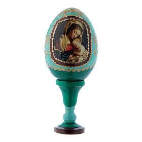Huevo estilo Fabergé verde ruso Virgen con Niño h tot 13 cm s1