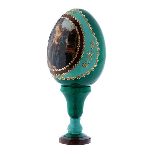 Uovo russo Adorazione del Bambino con San Giovannino verde h tot 13 cm 2