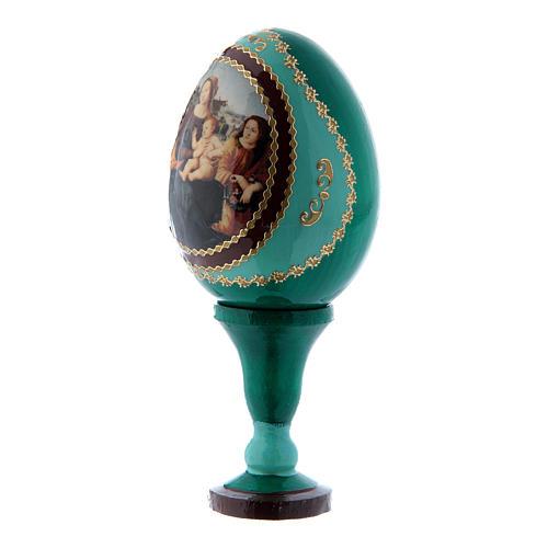 Russische Ei-Ikone, grün, Madonna mit Kind, Johannesknaben und Engeln, Gesamthöhe 13 cm