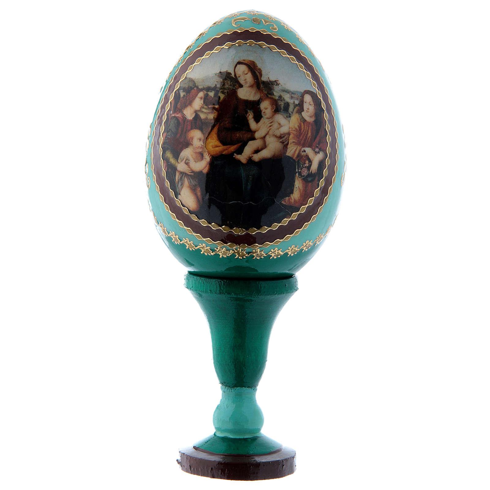 Uovo russo in legno verde Madonna col Bambino, San Giovannino e Angeli h tot 13 cm 4