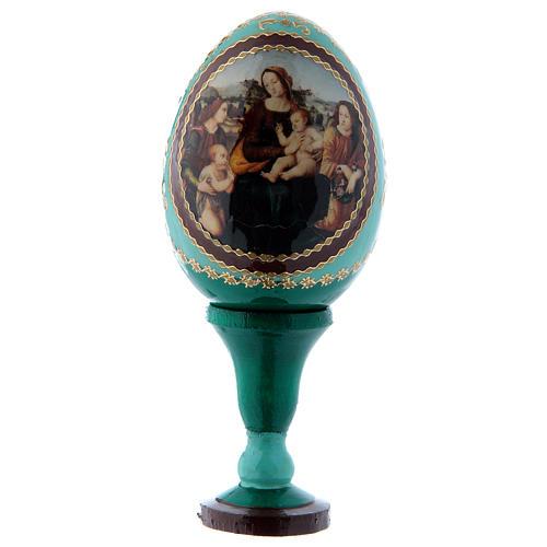 Uovo russo in legno verde Madonna col Bambino, San Giovannino e Angeli h tot 13 cm 1
