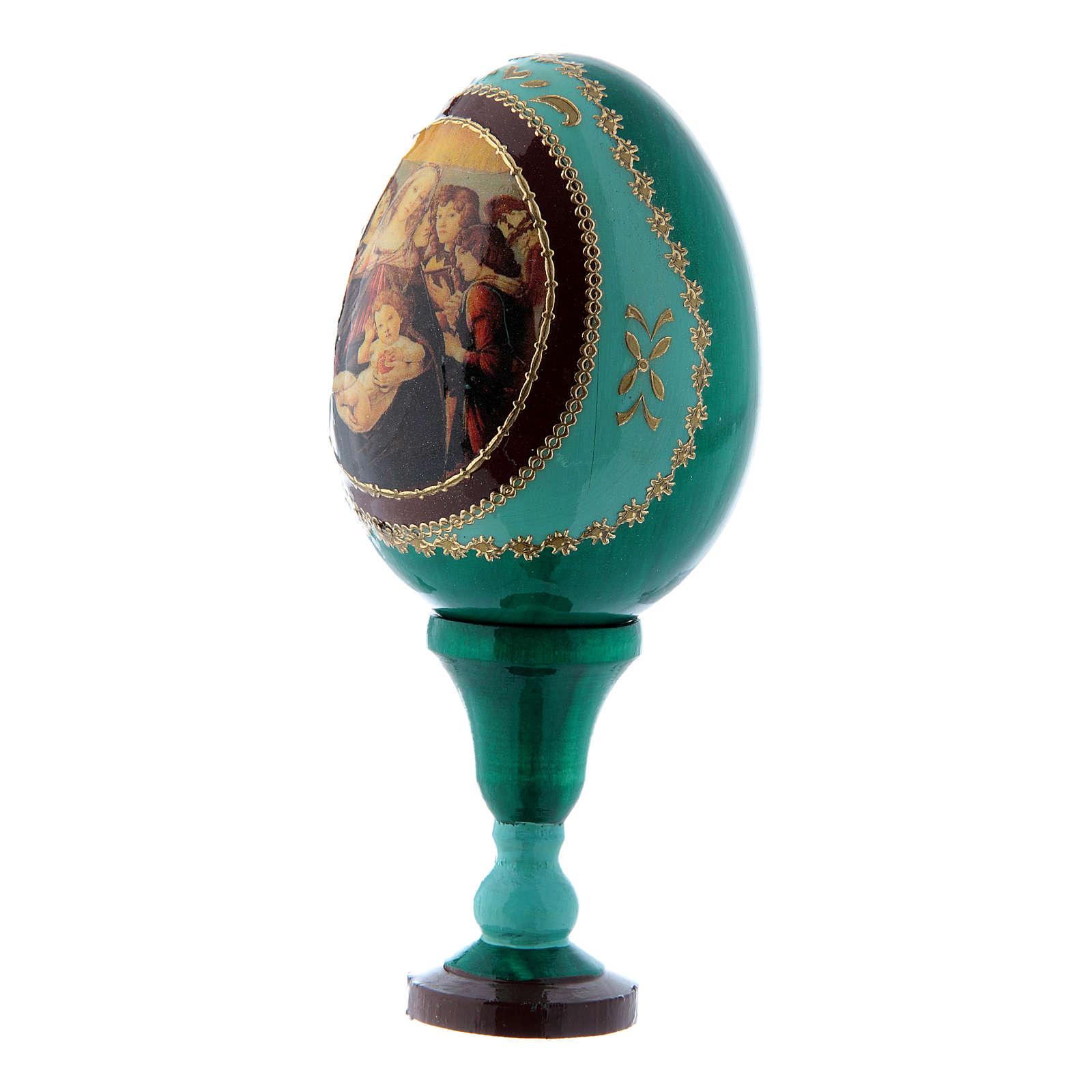 Uovo icona russa La Madonna della melagrana verde h tot 13 cm 4