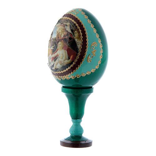 Russische Ei-Ikone, grün, Madonna del Magnificat, Gesamthöhe 13 cm