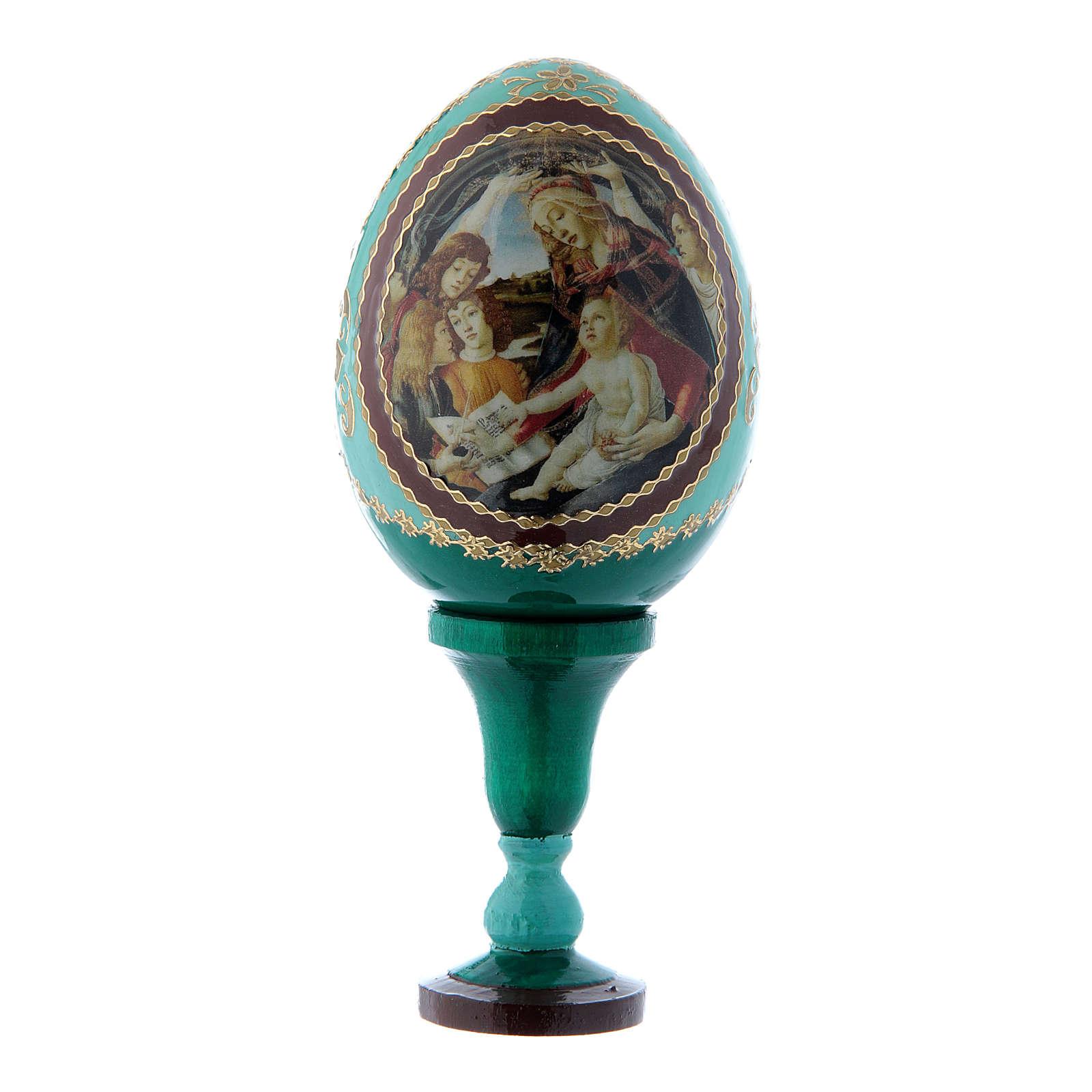 Uovo russo La Madonna del Magnificat verde in legno h tot 13 cm 4