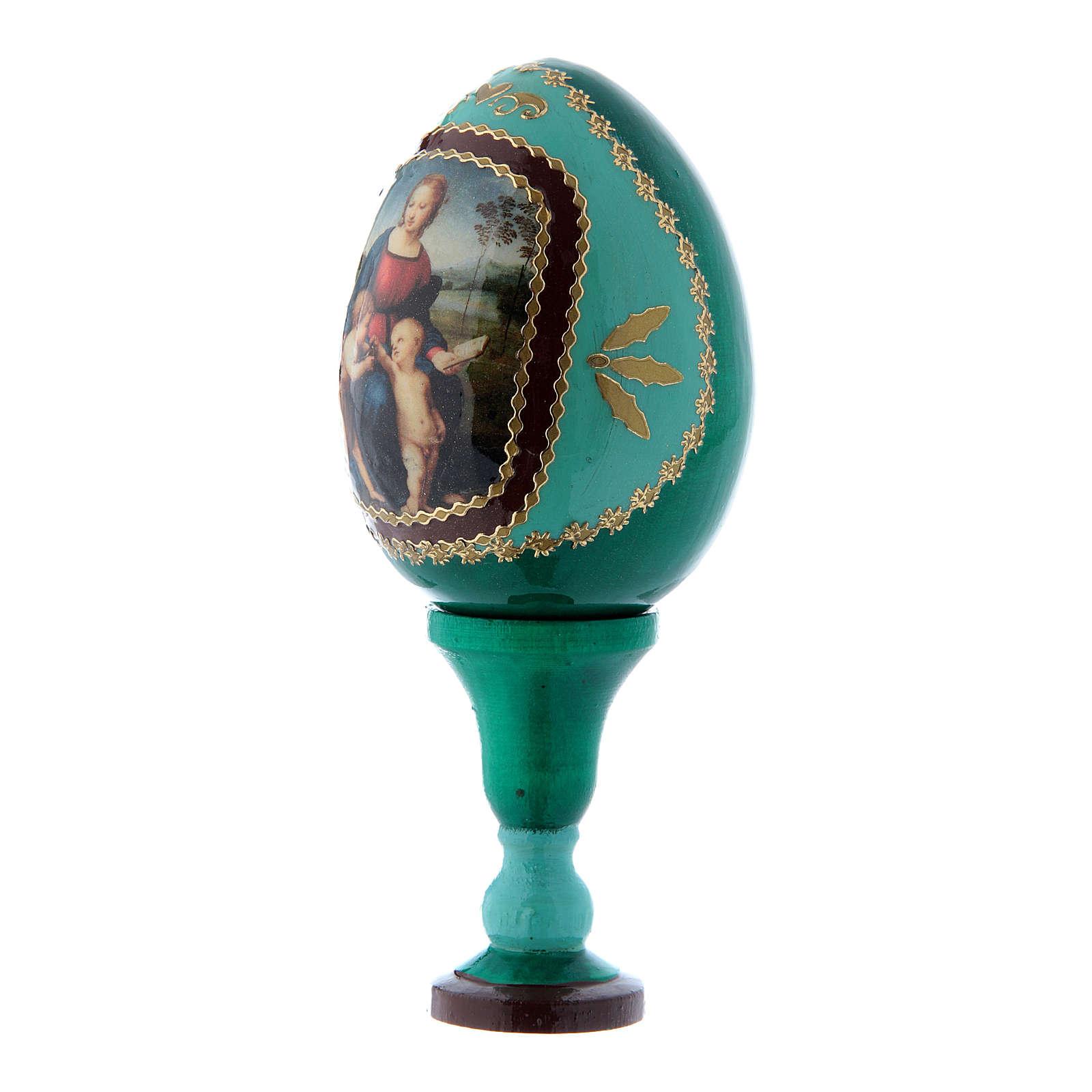 Uovo russo La Madonna del Cardellino in legno verde h tot 13 cm 4