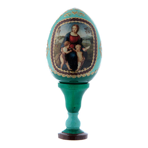 Uovo russo La Madonna del Cardellino in legno verde h tot 13 cm 1