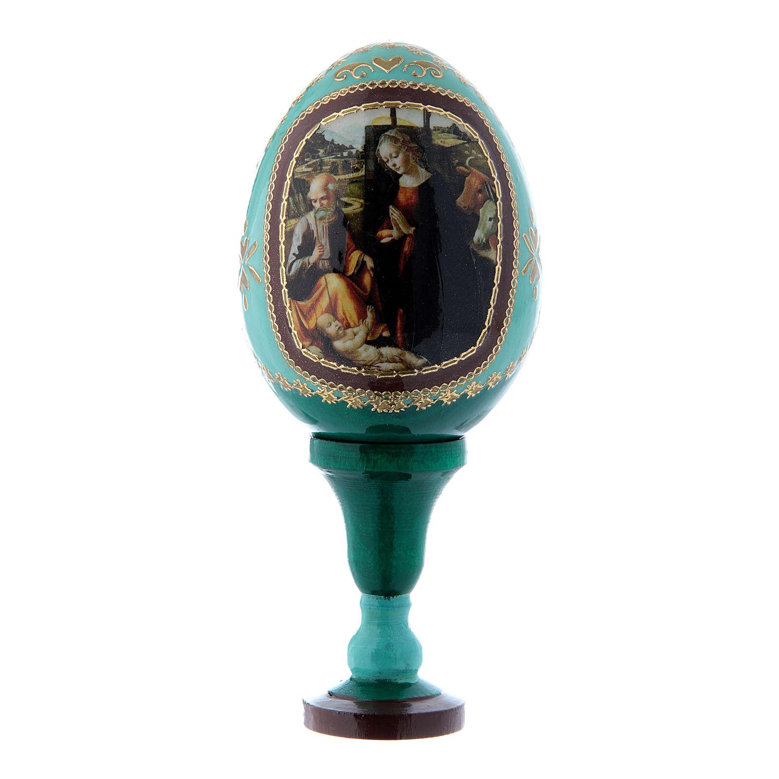 Huevo ícono ruso Natividad verde h tot 13 cm 4