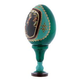 Huevo ícono ruso Natividad verde h tot 13 cm s2