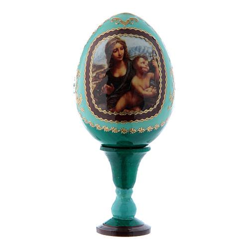 Russische Ei-Ikone, grün, Madonna mit der Spindel, Gesamthöhe 13 cm