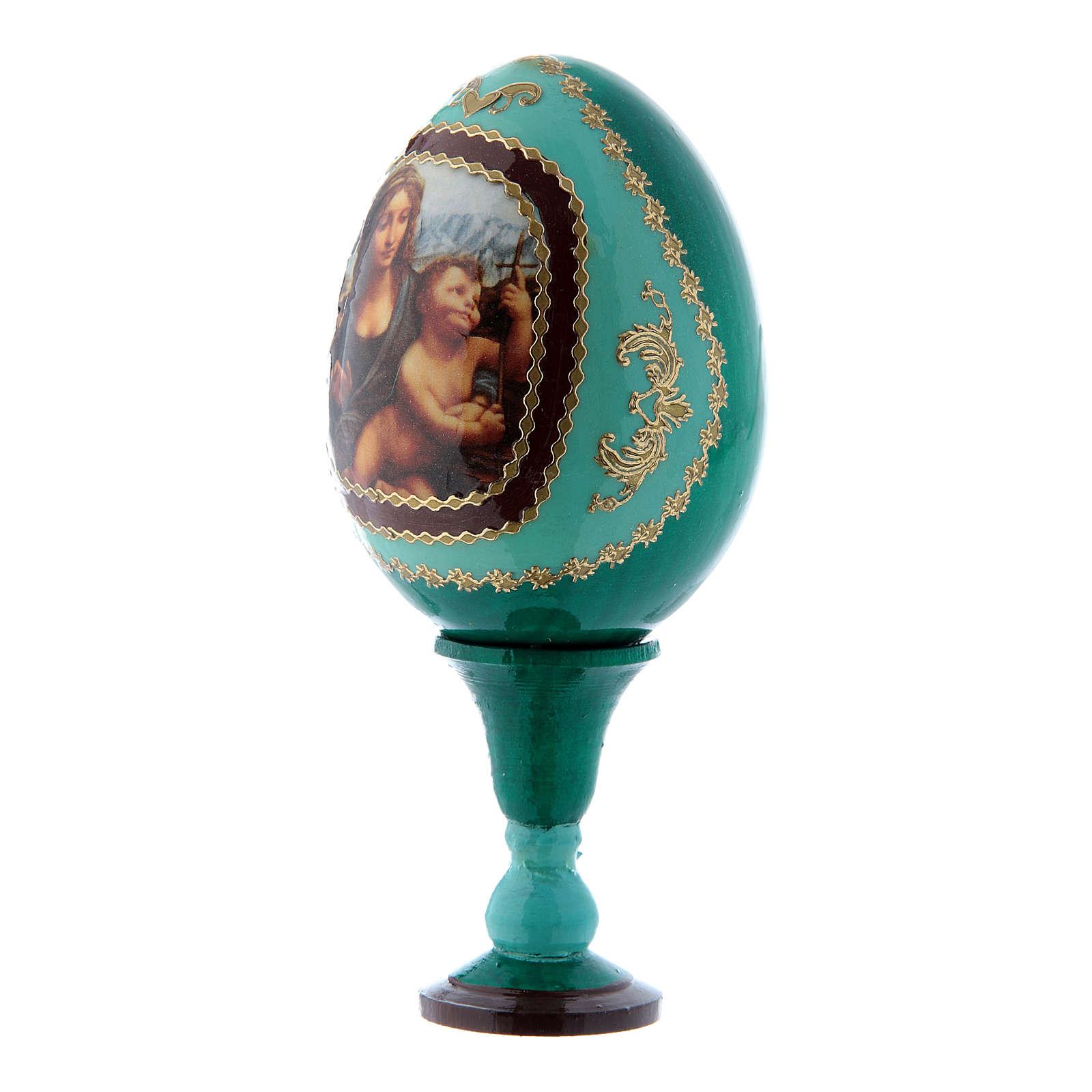 Uovo verde decorato a mano russo La Madonna dei Fusi h tot 13 cm 4