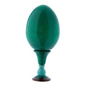 Uovo verde decorato a mano russo La Madonna dei Fusi h tot 13 cm s3