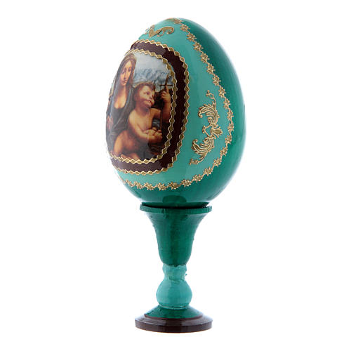 Uovo verde decorato a mano russo La Madonna dei Fusi h tot 13 cm 2