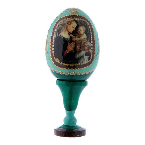 Russische Ei-Ikone, grün, Madonna mit Kind und zwei Engeln, Gesamthöhe 13 cm