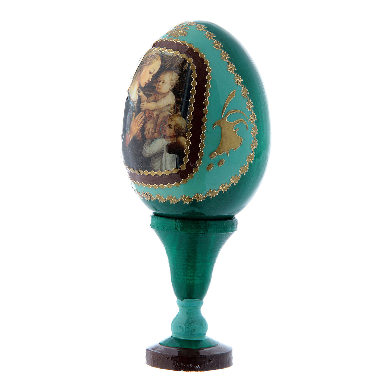 Huevo ruso Virgen con Niño y Ángeles verde de madera decorado a mano h tot 13 cm 4
