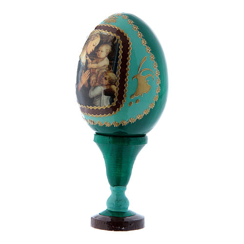 Huevo ruso Virgen con Niño y Ángeles verde de madera decorado a mano h tot 13 cm 2