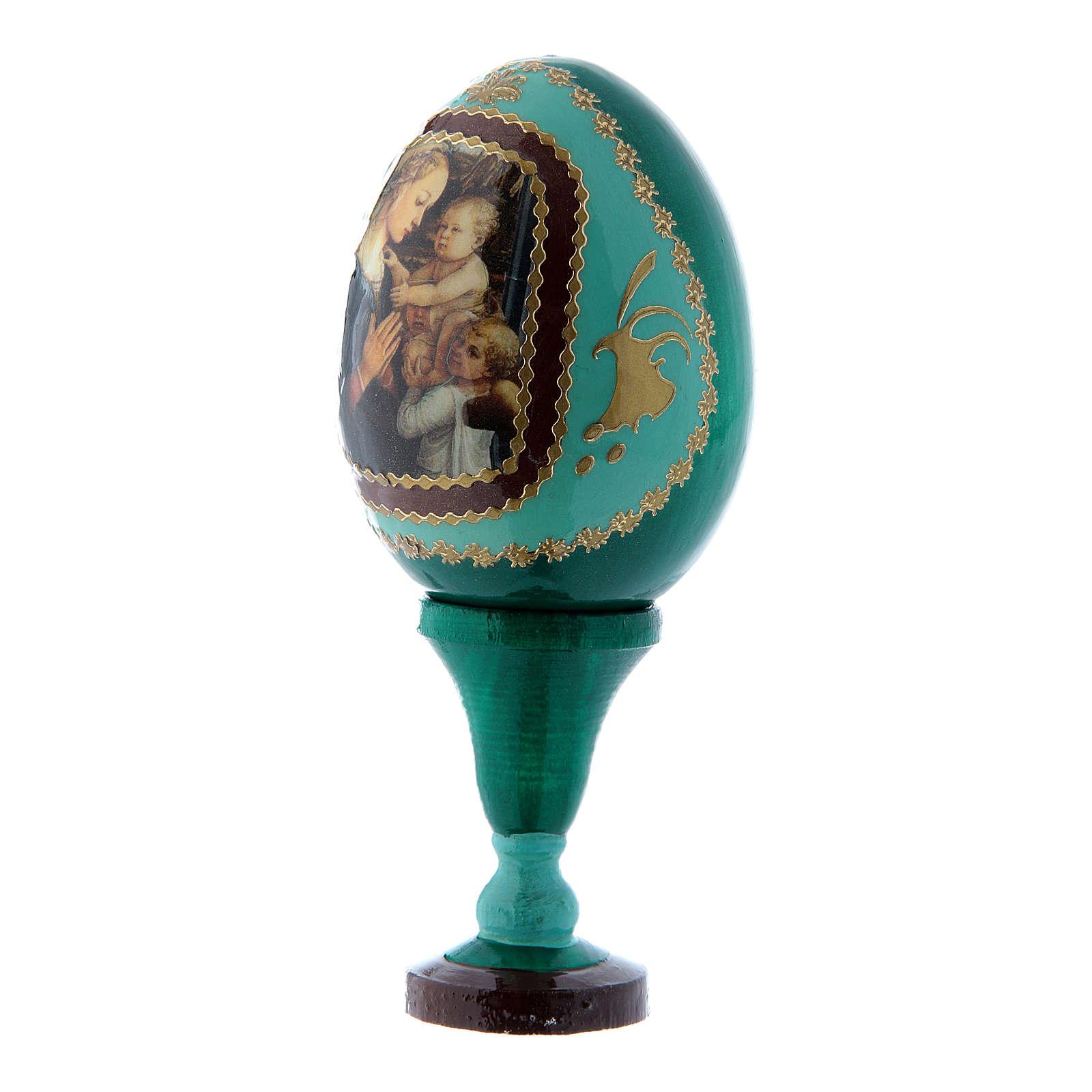 Oeuf russe La Vierge à l'Enfant et Anges vert en bois décoré main h tot 13 cm 4