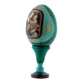 Oeuf russe La Vierge à l'Enfant et Anges vert en bois décoré main h tot 13 cm s2