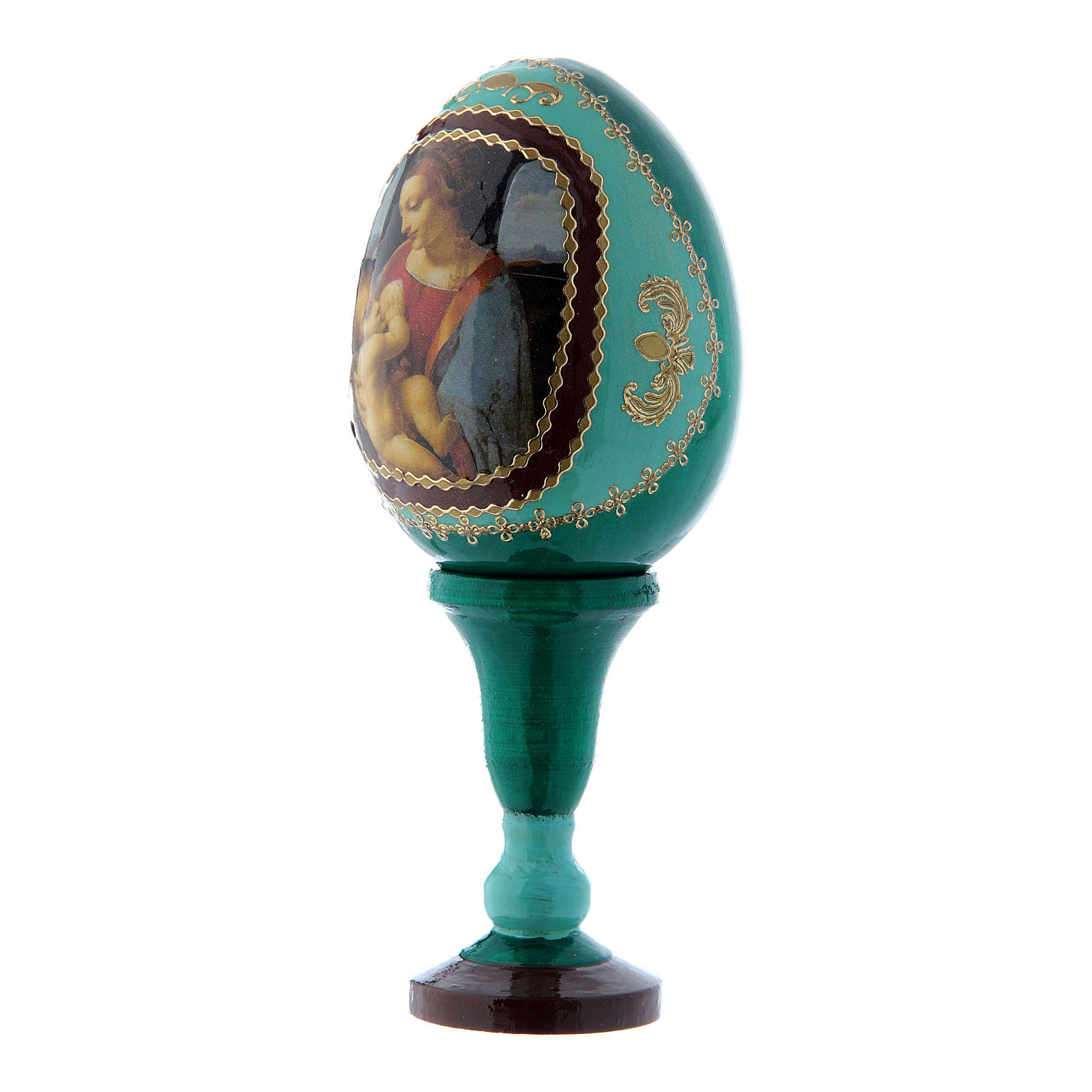 Huevo ícono ruso La Virgen Litta decoupage verde h tot 13 cm 4