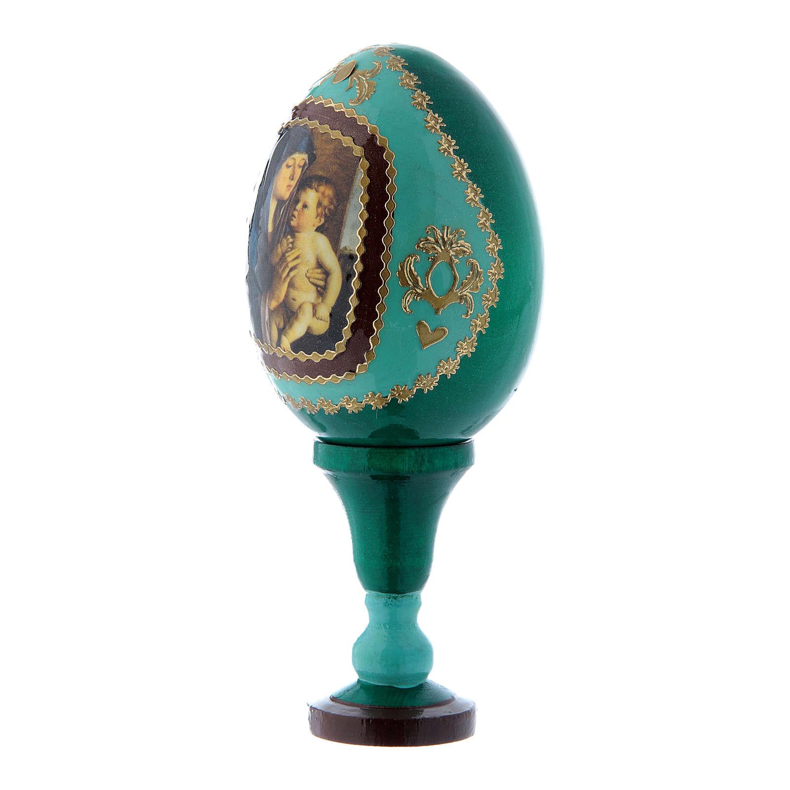 Uovo russo La Madonna col Bambino stile Fabergè verde in legno h tot 13 cm 4