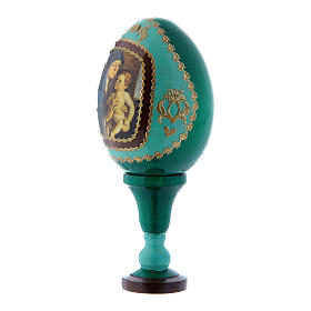 Uovo russo La Madonna col Bambino stile Fabergè verde in legno h tot 13 cm s2