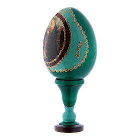 Russian Egg Madonna and Child with the Infant Saint John, Fabergé style, green 13 cm