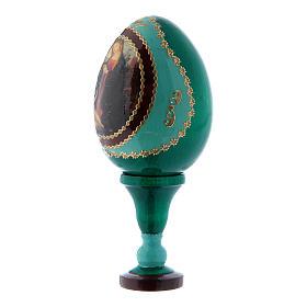 Uovo Madonna con Bambino e San Giovannino in legno verde découpage h tot 13 cm s2
