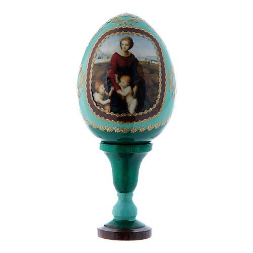 Russische Ei-Ikone, grün, Madonna im Garten, Gesamthöhe 13 cm