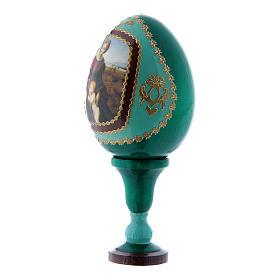 Huevo ícono ruso verde Virgen del Belvedere decorado a mano h tot 13 cm s2