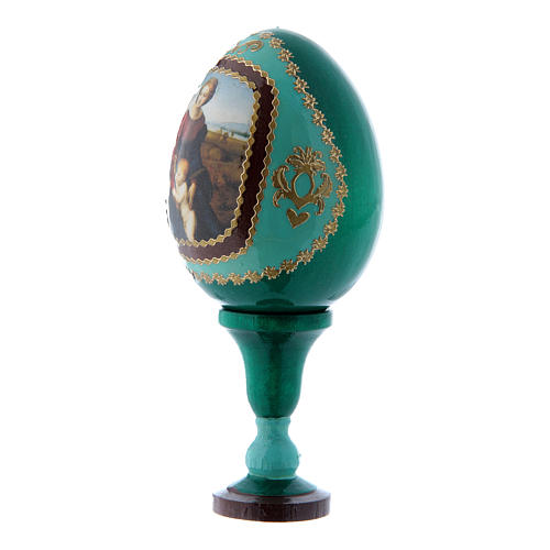 Huevo ícono ruso verde Virgen del Belvedere decorado a mano h tot 13 cm 2