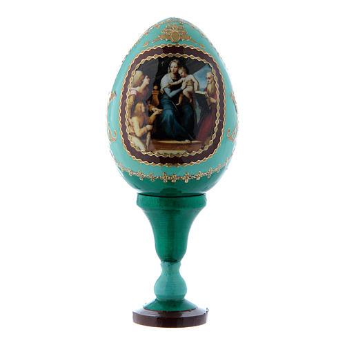 Russische Ei-Ikone, grün, Madonna mit dem Fisch, Gesamthöhe 13 cm