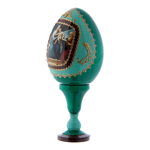 Oeuf vert en bois décoré main russe La Vierge au poisson h tot 13 cm