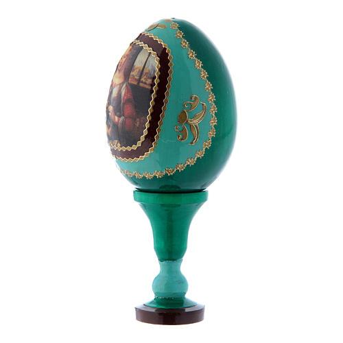 Russische Ei-Ikone, grün, Madonna mit dem Kinde, Fabergè-Stil, Gesamthöhe 13 cm