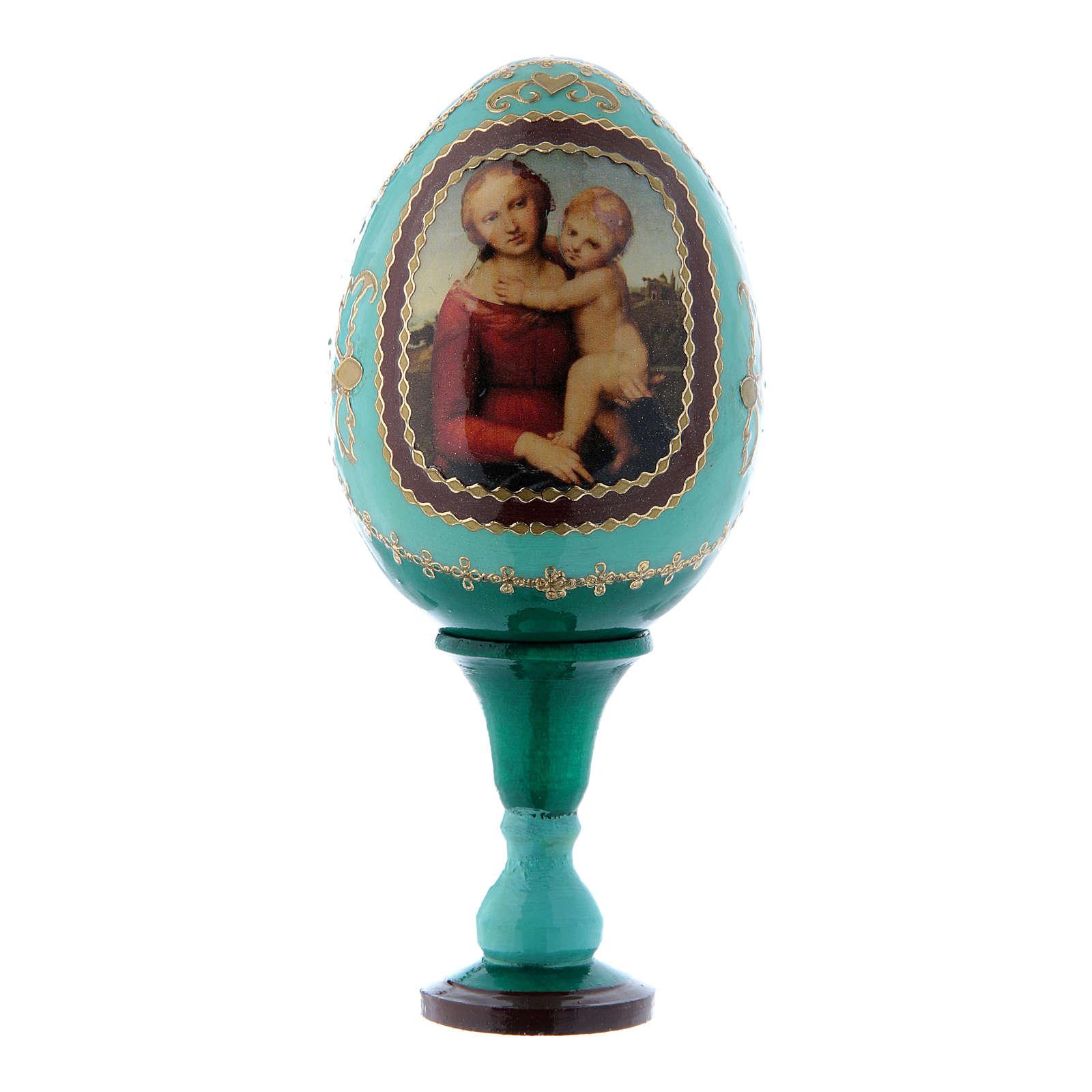 Uovo La Piccola Madonna Cowper verde russo decorato a mano h tot 13 cm 4