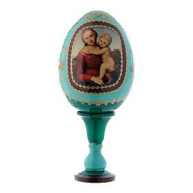 Uovo La Piccola Madonna Cowper verde russo decorato a mano h tot 13 cm s1