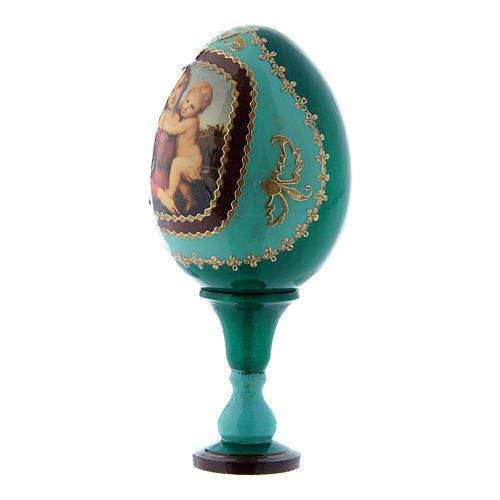 Uovo La Piccola Madonna Cowper verde russo decorato a mano h tot 13 cm 2