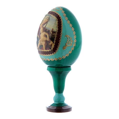 Russische Ei-Ikone, grün, Madonna mit dem Kinde, Gesamthöhe 13 cm