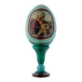 Huevo ruso Virgen con Niño verde decoupage decorado a mano h tot 13 cm
