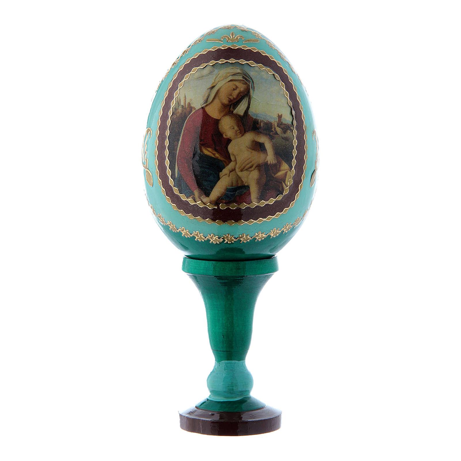 Uovo russo Madonna con Bambino verde découpage decorato a mano h tot 13 cm 4