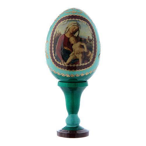 Uovo russo Madonna con Bambino verde découpage decorato a mano h tot 13 cm 1