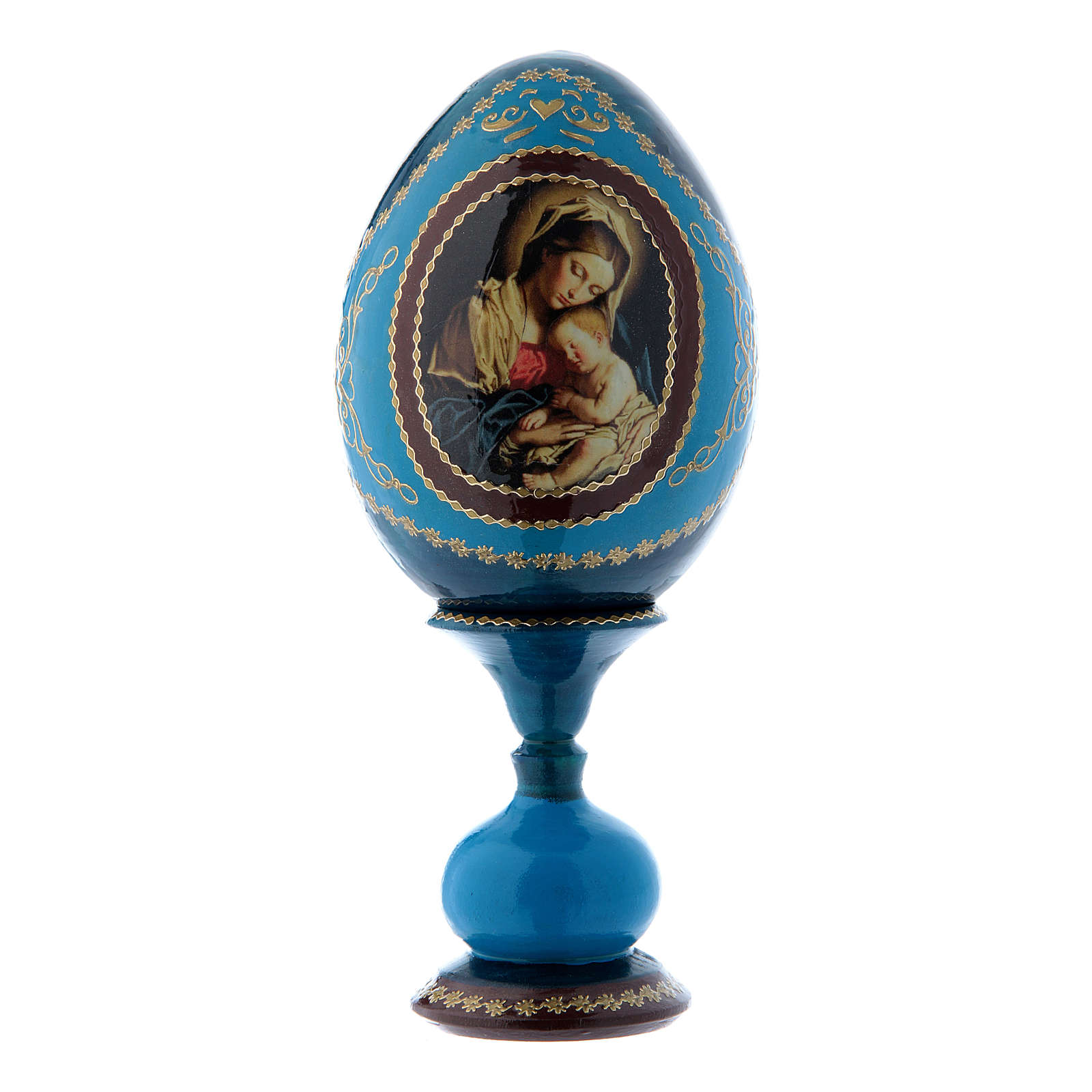 Uovo in legno blu russo decorato a mano Madonna col Bambino h tot 16 cm 4