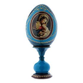 Uovo in legno blu russo decorato a mano Madonna col Bambino h tot 16 cm s1