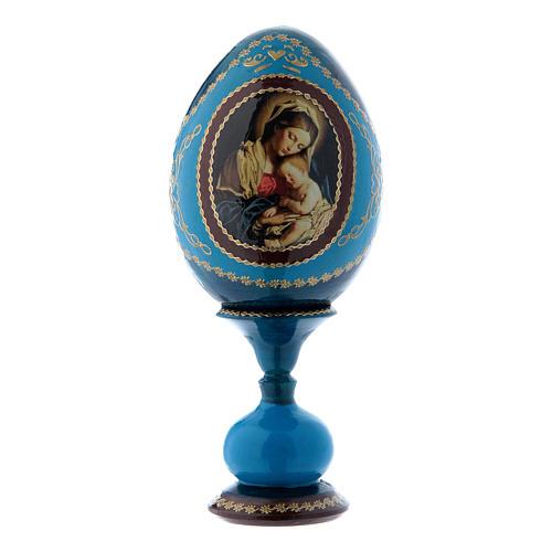 Uovo in legno blu russo decorato a mano Madonna col Bambino h tot 16 cm 1